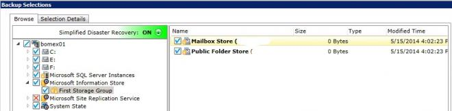 Solved: BackupExec 2012 SP4 mailbox store 0 bytes - VOX