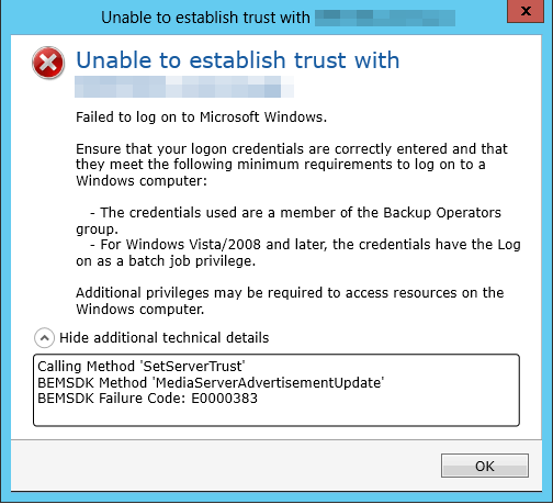 Unable to establish trust with domain controller - VOX