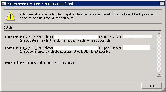 Netbackup error validating hyper v machine name
