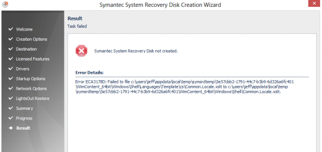 symantec ystem recovery disk not created - VOX