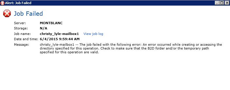 Exchange Temporary Mailbox Error