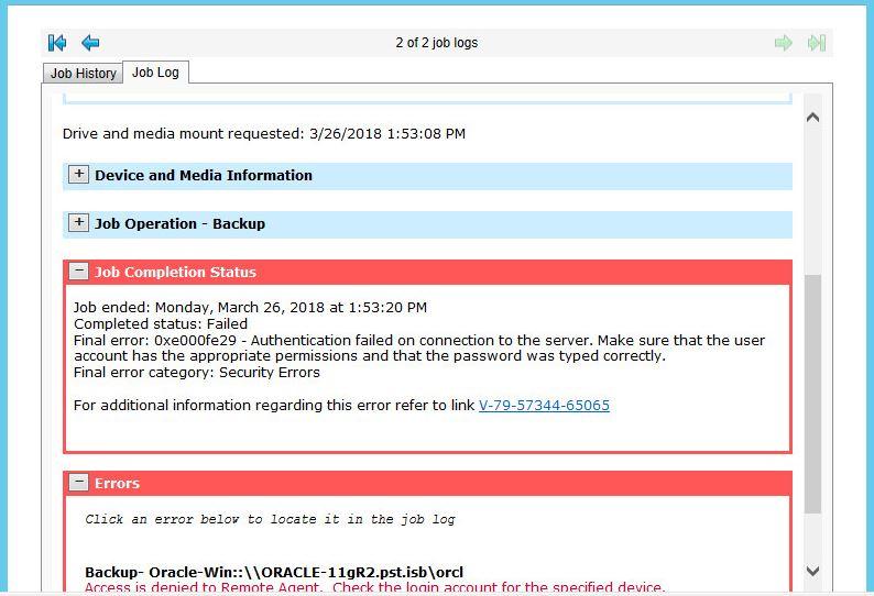 Oracle database Backup fails - VOX