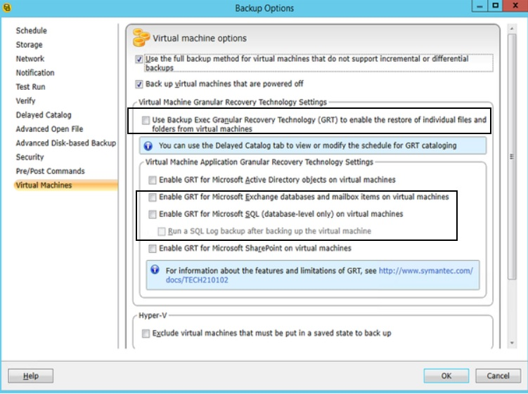 Configuration Backup Exec 2014 V-Ray for Exchange     - VOX
