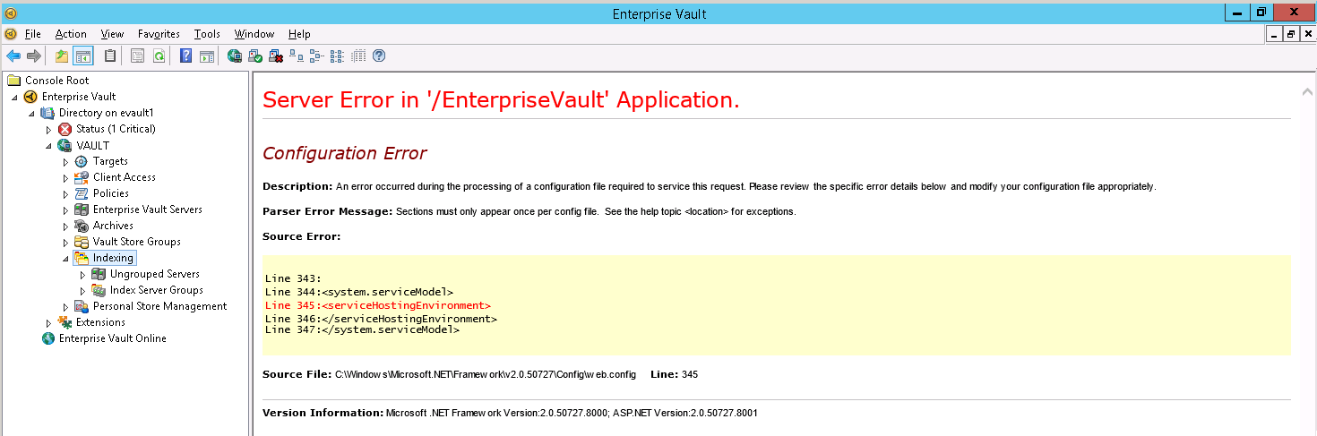 Solved: Enterprise Vault Indexing Service is stopping afte