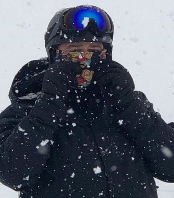 Andrew on a skiing adventure