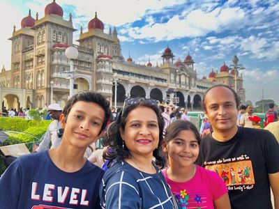 Anuradha and her family on holiday in India