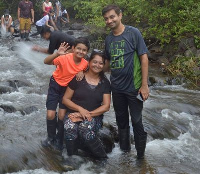 Abhijeet with his wife and son enjoying family time