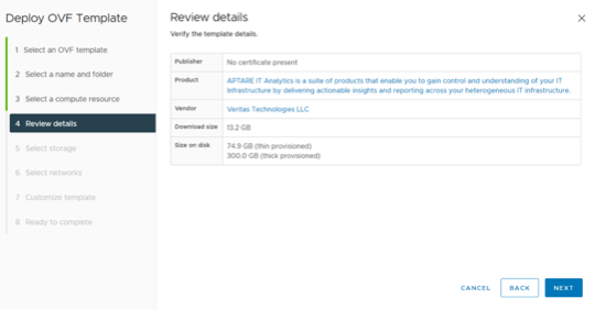 Figure 1. The Deployment of Review details page in APTARE.