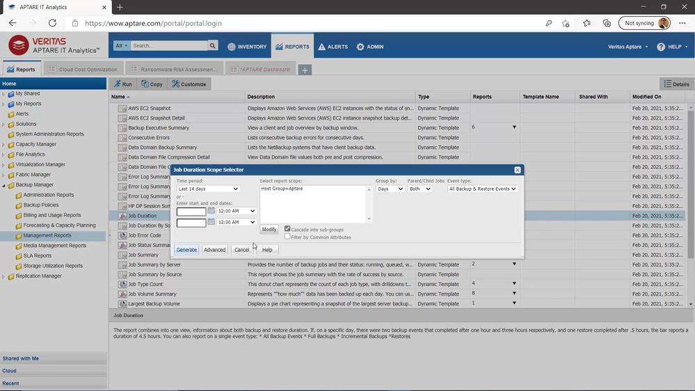 Figure 2 – Customize the report parameters