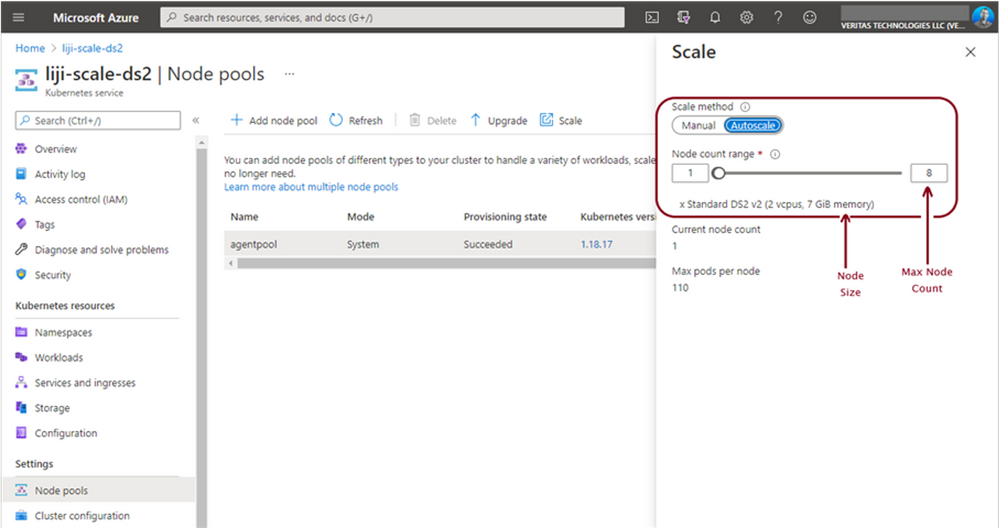 Figure 2 -Estimate cloud data protection costs using Azure Node Pool count, Node size, and duration of your backup window.