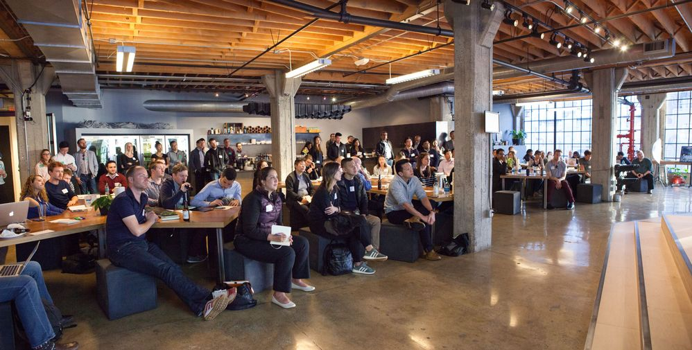 The audience listens as HackerRank CEO, Vivek Ravasankar, introduces the fireside chat.