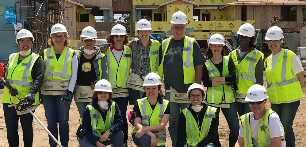 Representatives from Veritas' Mountain View HR team collaborating to support its local Habitat for Humanity in a day of construction activities.