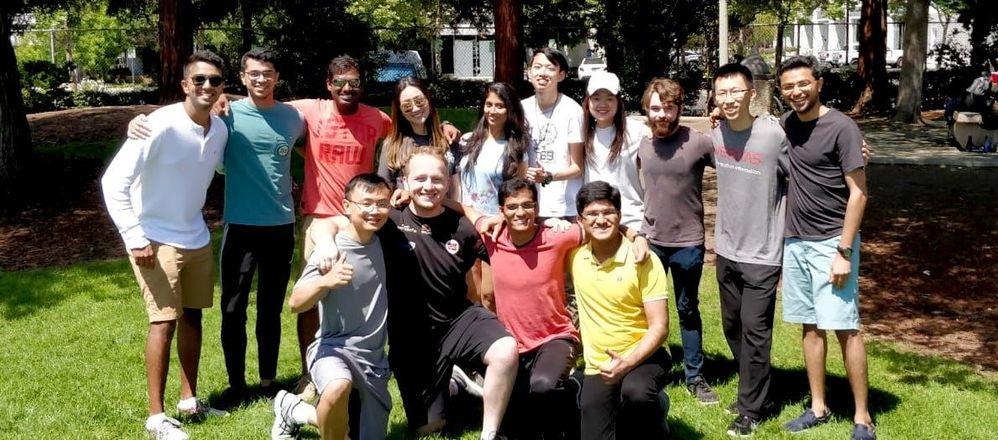 The Veritas University internship program summer class enjoys an afternoon in the sun at Encinal Park.