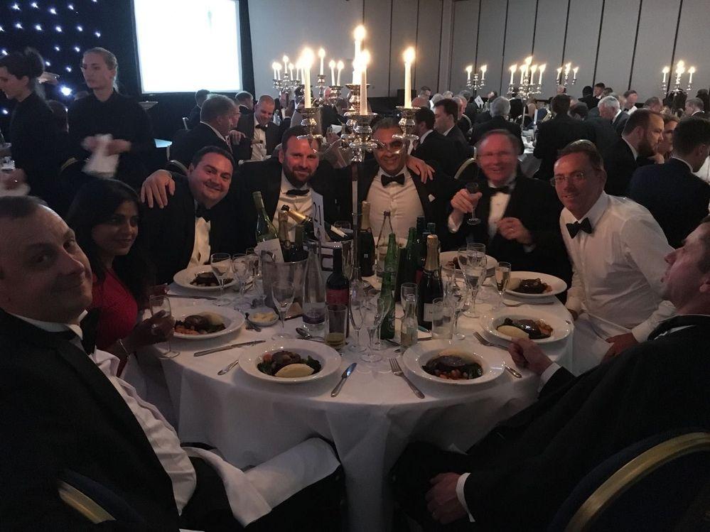 Team celebrating the awards dinner