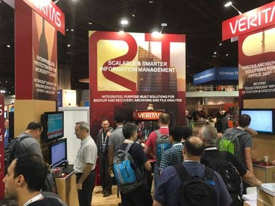 Constant exchange of information at the Veritas booth, Microsoft Ignite 2016