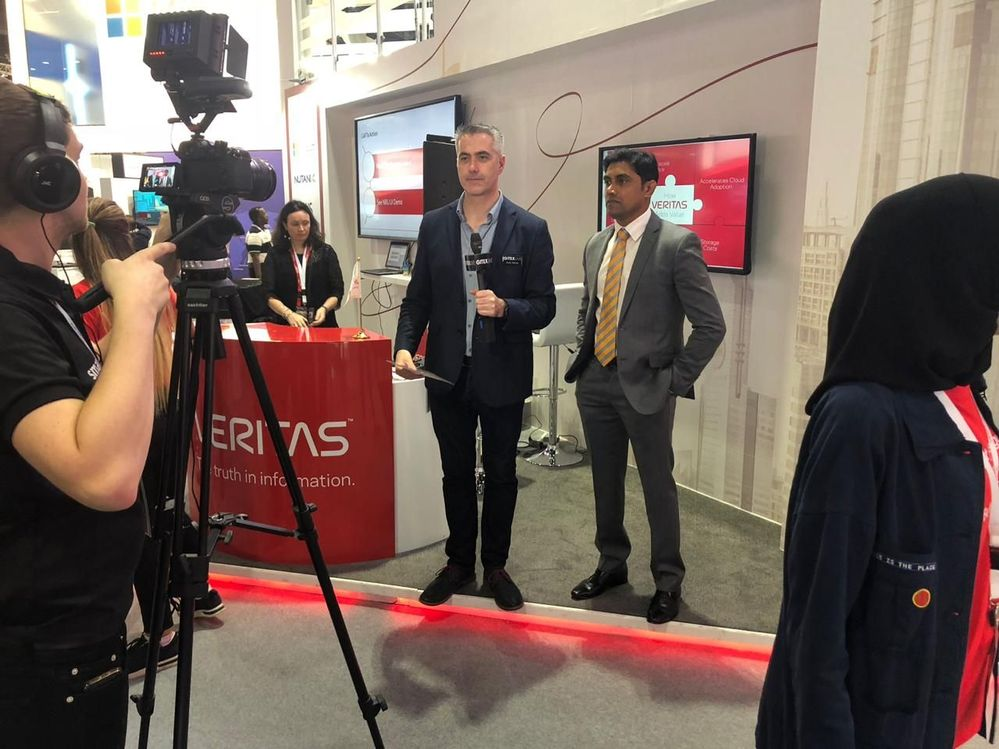 GITEX Live kicked off the afternoon recording on Veritas' stand.