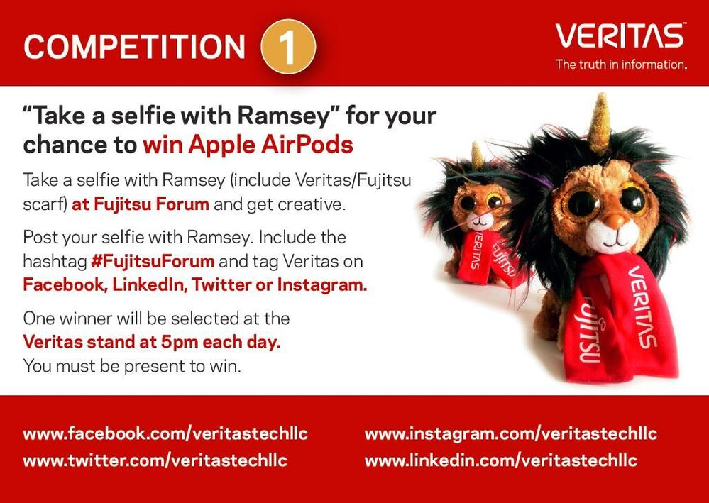 Met Ramsey on Veritas' booth area L13-L17, take a selfie and be in with a chance to win a pair of Apple AirPods