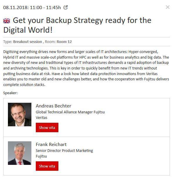 Further details on the Veritas/Fujitsu presentation