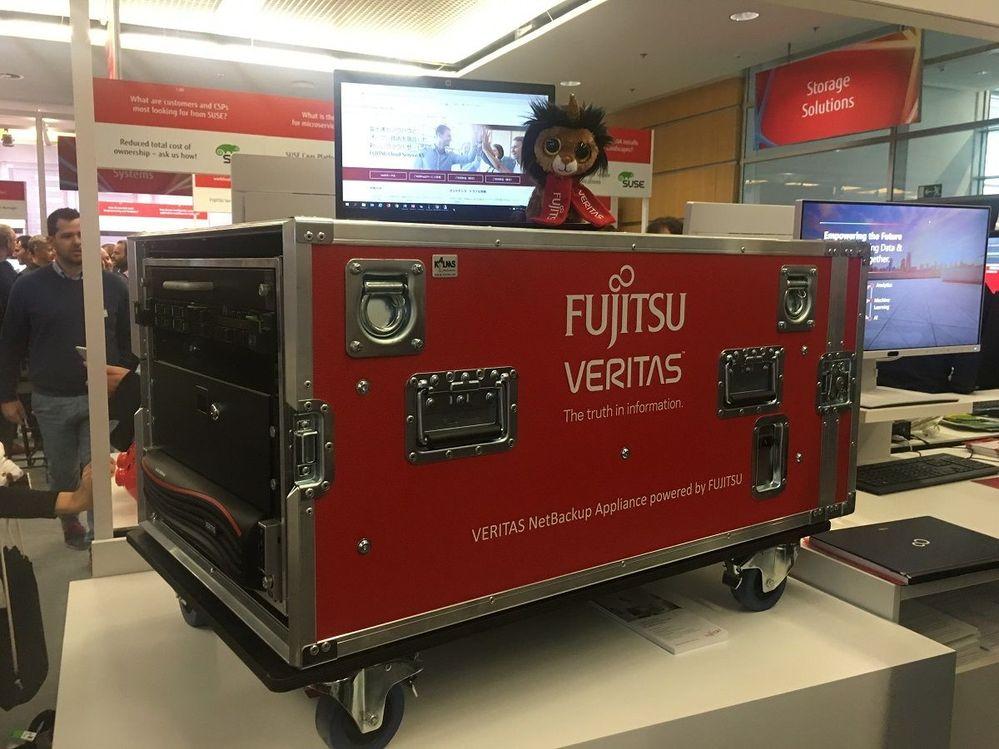 Veritas/Fujitsu flight box containing NetBackup and featuring Ramsey (this year's mascot at Fujitsu Forum)