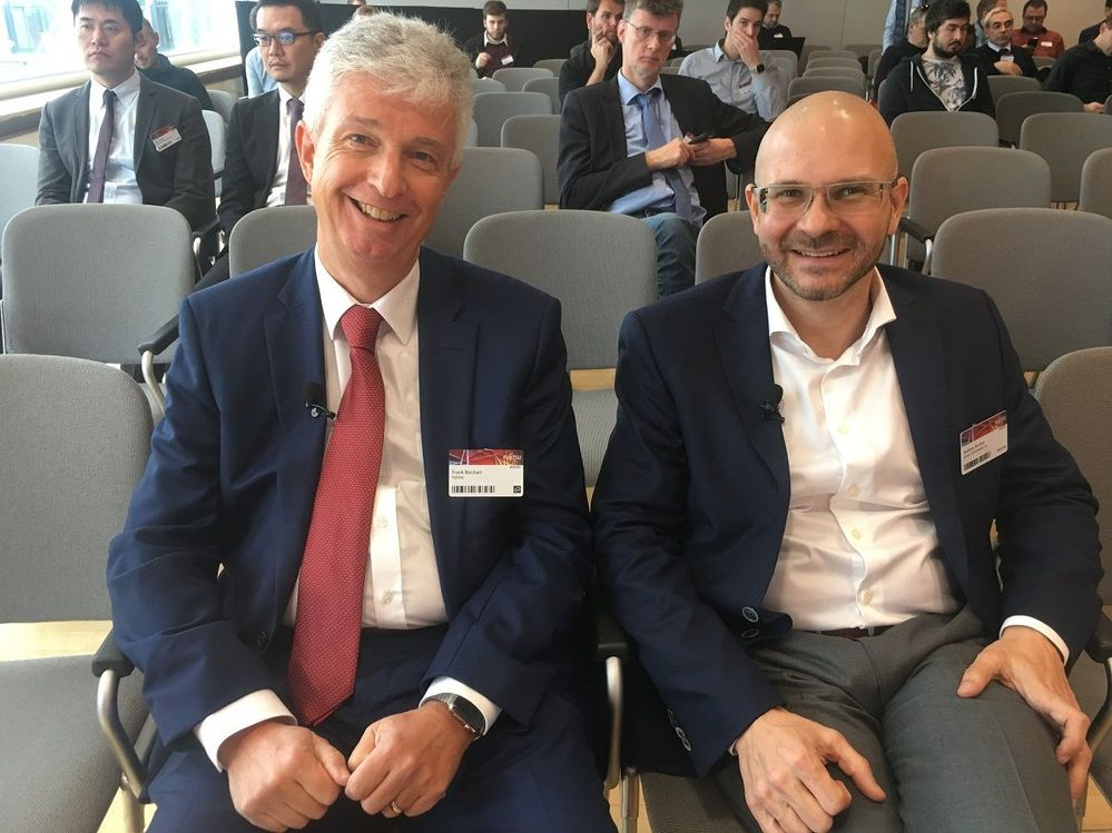 Frank Reichart (left) and Andreas Bechter (right) waiting for their presentation slot to begin. Happy photo!