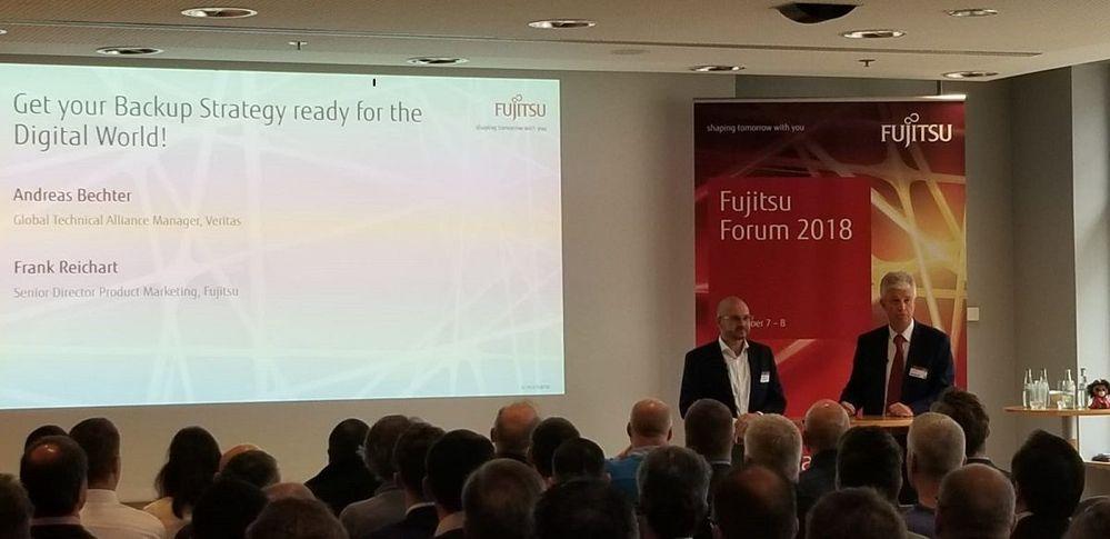 Andreas Bechter opens the Veritas/Fujitsu presentation slot.
