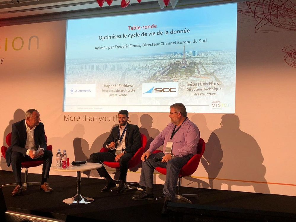 The afternoon panel session featured two platinum partners; Antemeta and SCC hosted by Frederic Fimes, Channel Director, Veritas (far left)