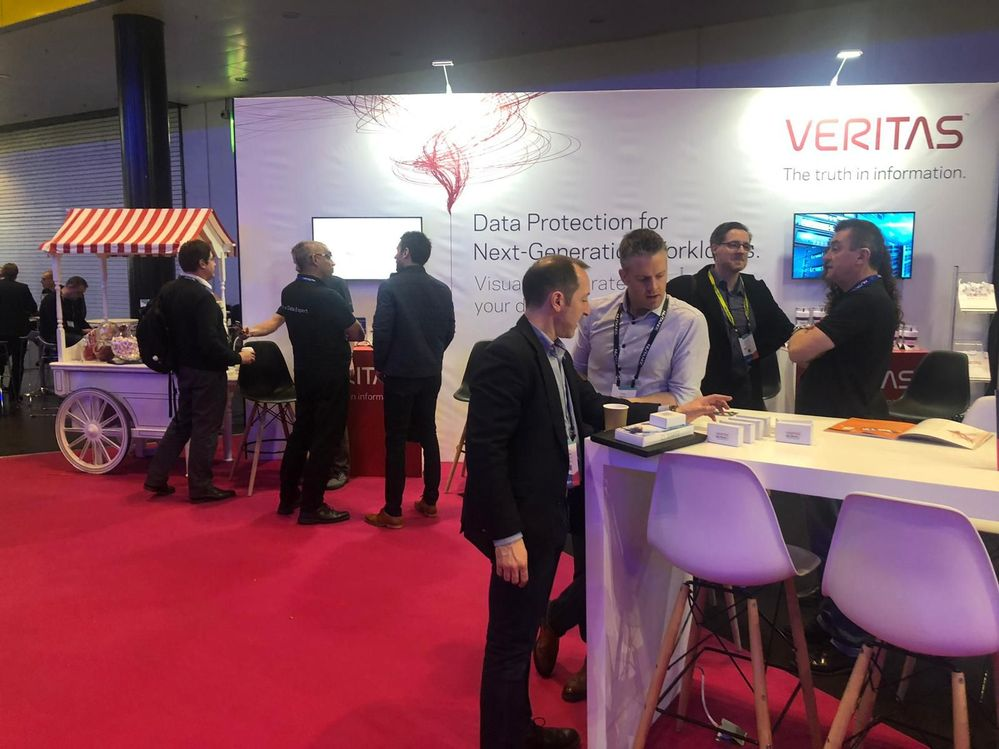 Lots of data protection discussions on Veritas' stand.