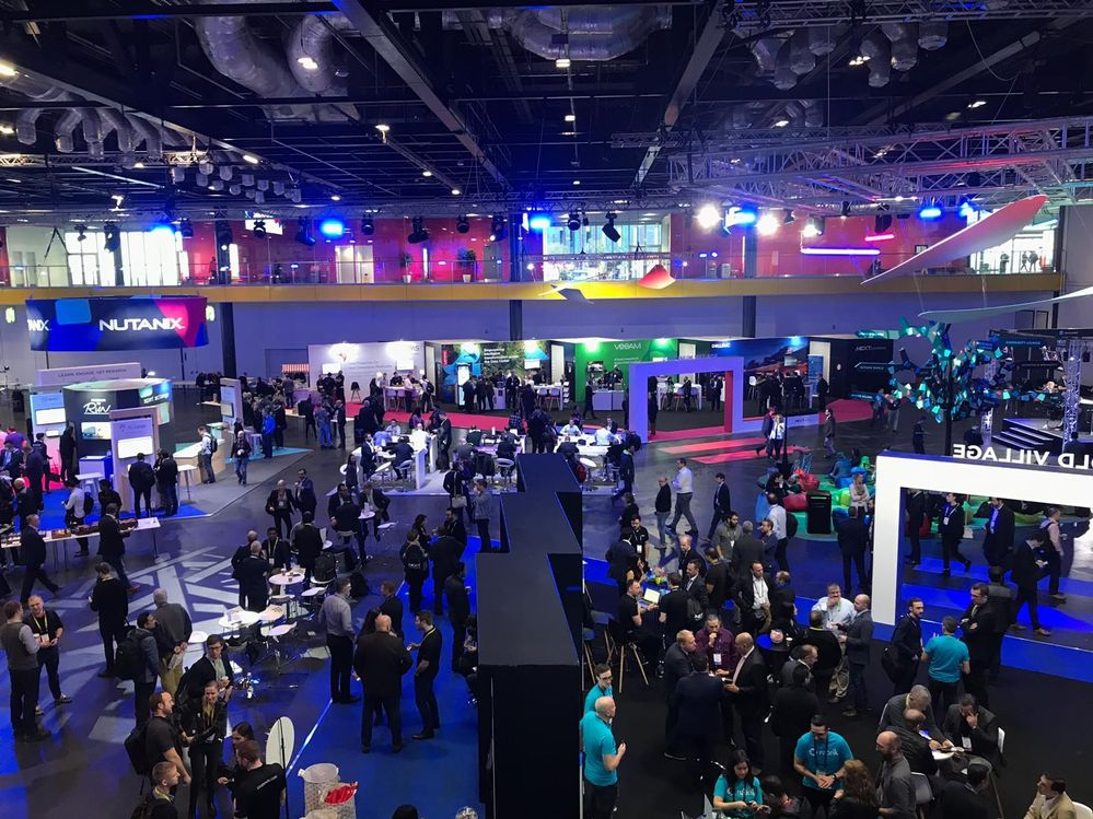 Aerial view of Nutanix .NEXT 2018 London. Veritas' stand is at the back on the middle left hand side.