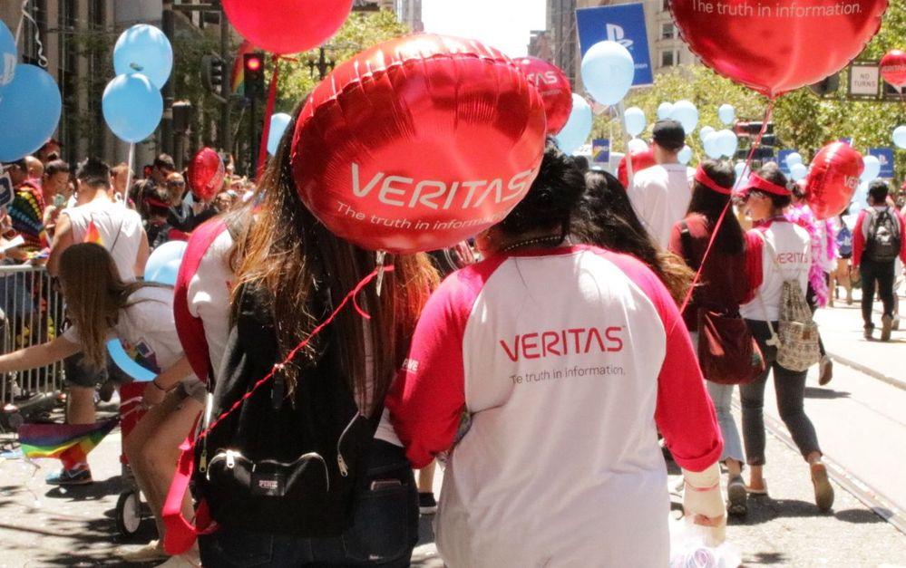 Members of #TeamVtas walk the 2019 San Francisco Pride Parade, celebrating the culture of inclusion at Veritas Technologies.
