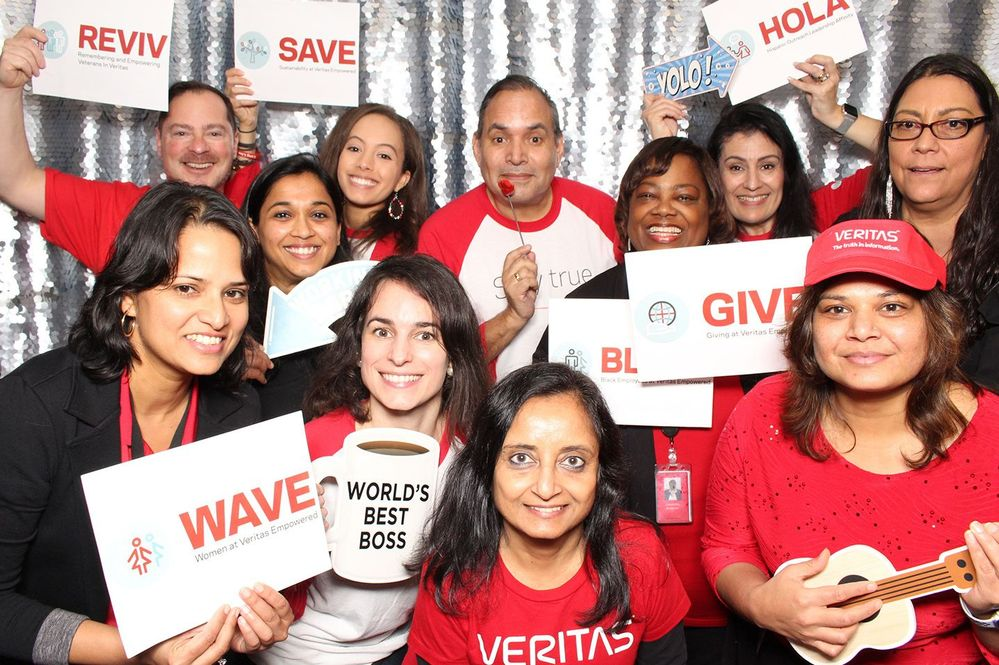 Veritas Employee Resource Group leaders join in a group photo at this year's ERG Fair at Veritas Headquarters.