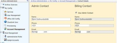 The screenshot above shows the new contact details section in the Administration console.