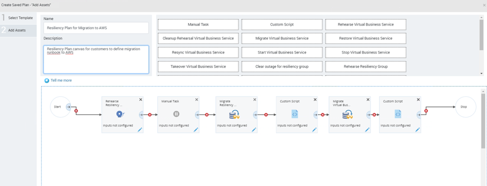 Cloud Mobility Resiliency Plan canvas allows customer to use drag drop feature to define migration run book