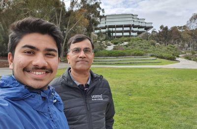 Vijay and his son enjoying a walk