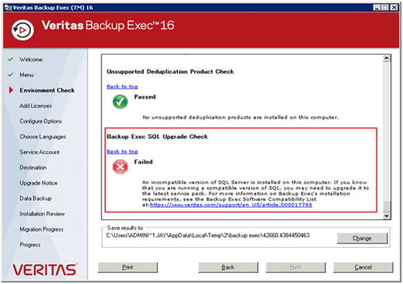 Upgrade backup exec 2010 r3 sp4 to be 16 qsuop67736.