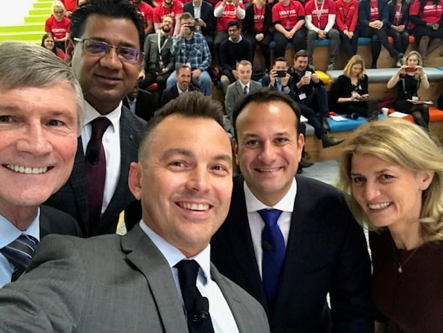 Bill Coleman, Abhijit Dey, Mark Nutt, Taisoeach Leo Varadkar and Mary Buckley pose for a Veritas Selfie
