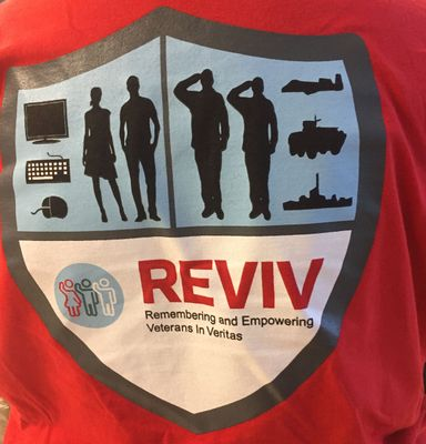 The Veritas Heathrow REVIV group wore its ERG t-shirts in promotion of the Memorial Day fundraiser.