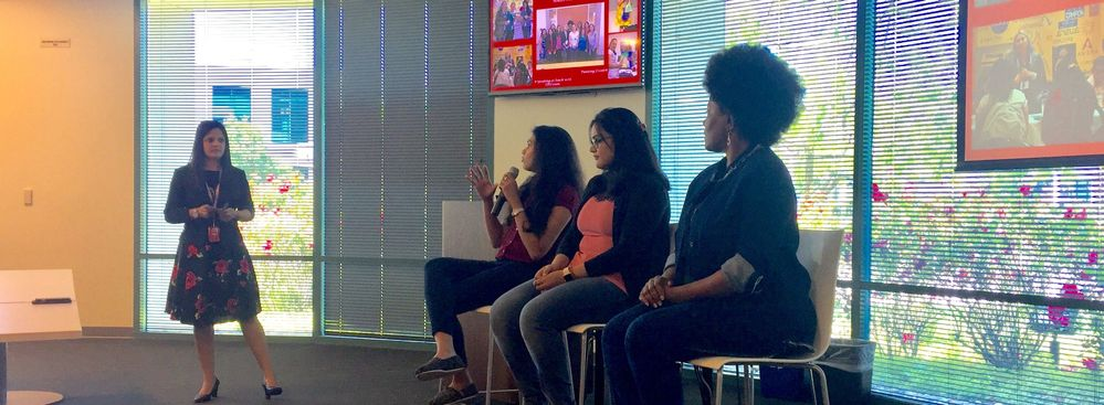 Members of the Mountain Views WAVE employee resource group speaking to past experiences with the TechWomen program.