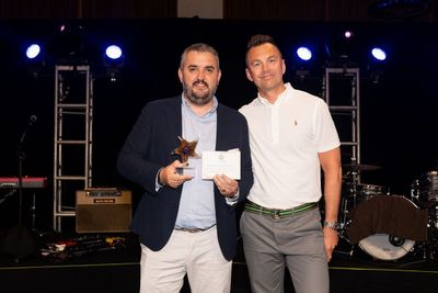 Ignacio De Pedro and Mark Nutt at Club VIP receiving his EMEA SE of the Year Award