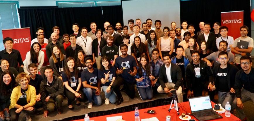 Veritas University interns celebrate the close of the 2018 Summer Innovation Pod showcase.