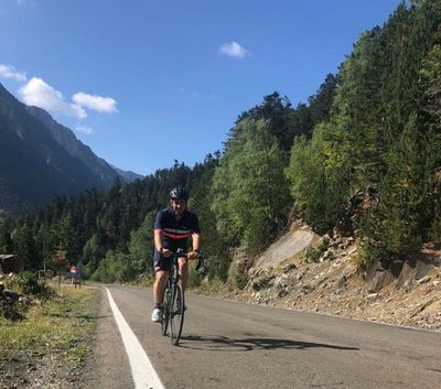 Valentin Pinuaga enjoying his cycling passion