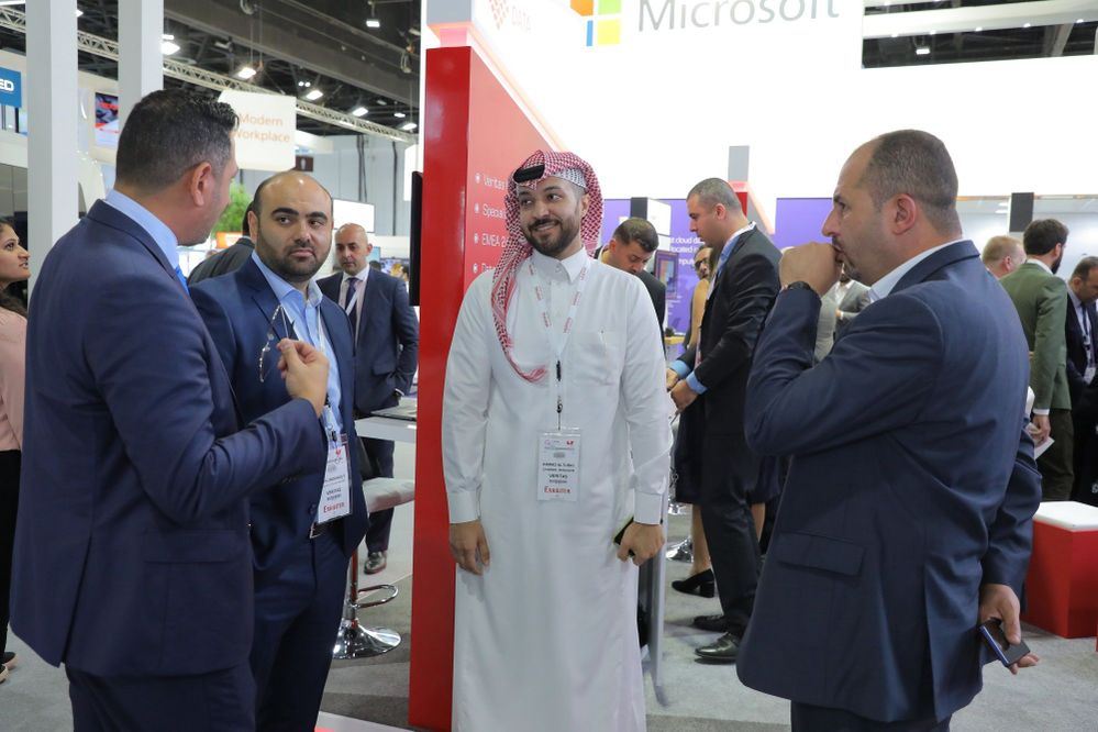 Meeting and greeting visitors on our stand at GITEX in Hall 7 C7-04.