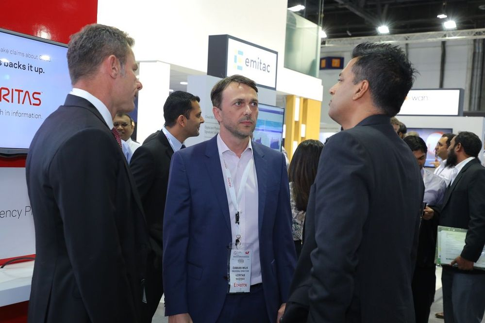 Three Execs from Three Continents. GITEX attracts visitors from across the world; coming from the US to South Africa to many of the Africa nations and countries in the Middle East. GITEX is truly a diverse show of cultures and technologies. A great experience!