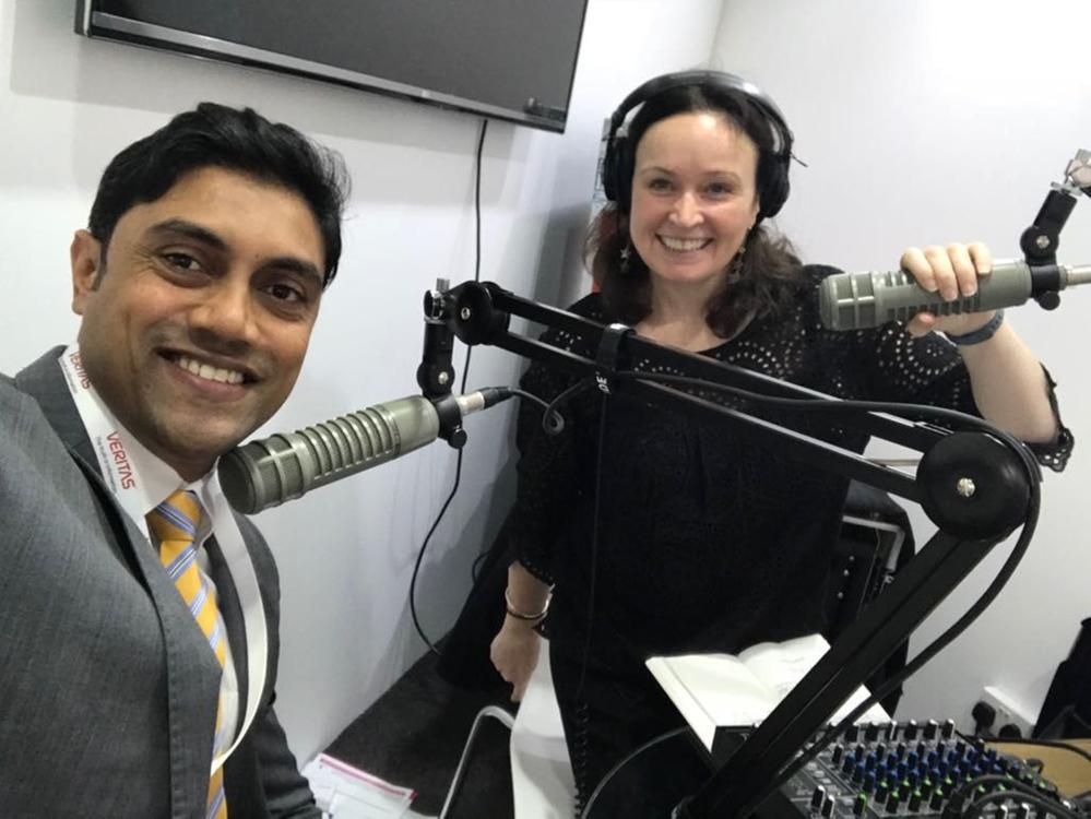 Podcasting with Mansoor Ibrahim and me (Zoe Sands).