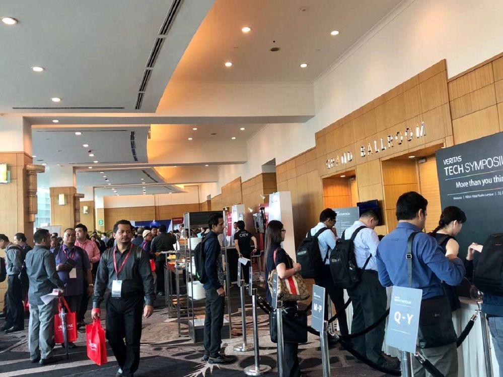 A busy registration area for the Veritas Tech Symposium (VTS) in Kuala Lumpur, Malaysia