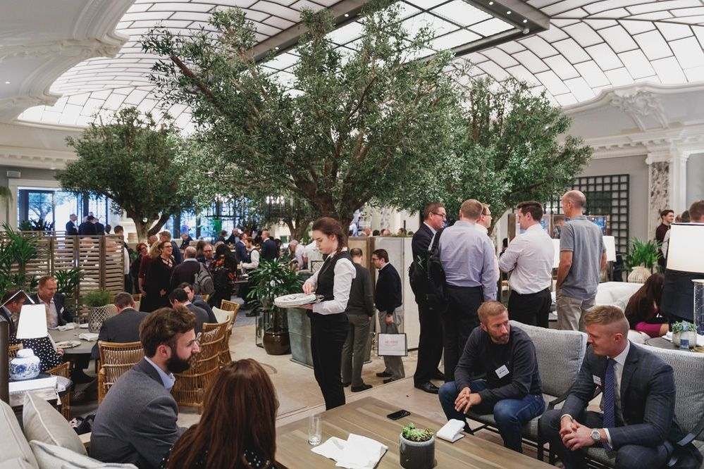 Beautiful olive tree courtyard of the Kimpton Fitzroy London a fitting location for VSD London.