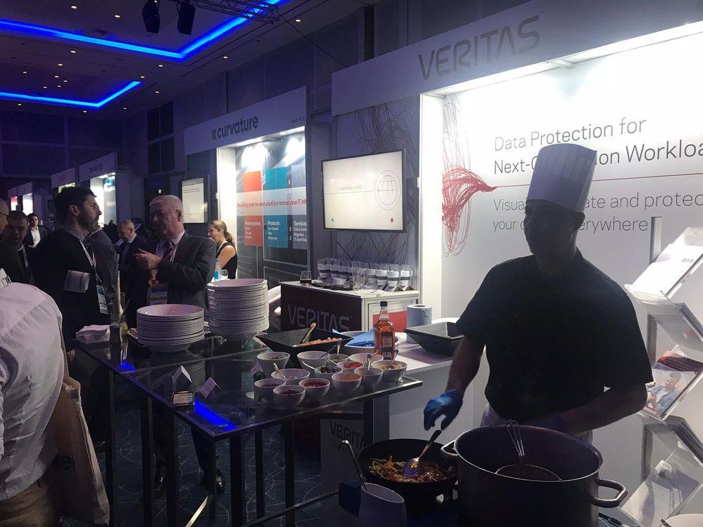 Attendees were treated to freshly prepared stir fries on Veritas' stand.