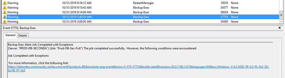 Successful backup in early hours of the same morning (exception expeted)