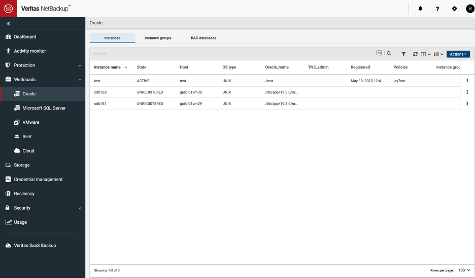Figure 1. Get an overview of your Oracle Instances, Instance groups and RAC databases.