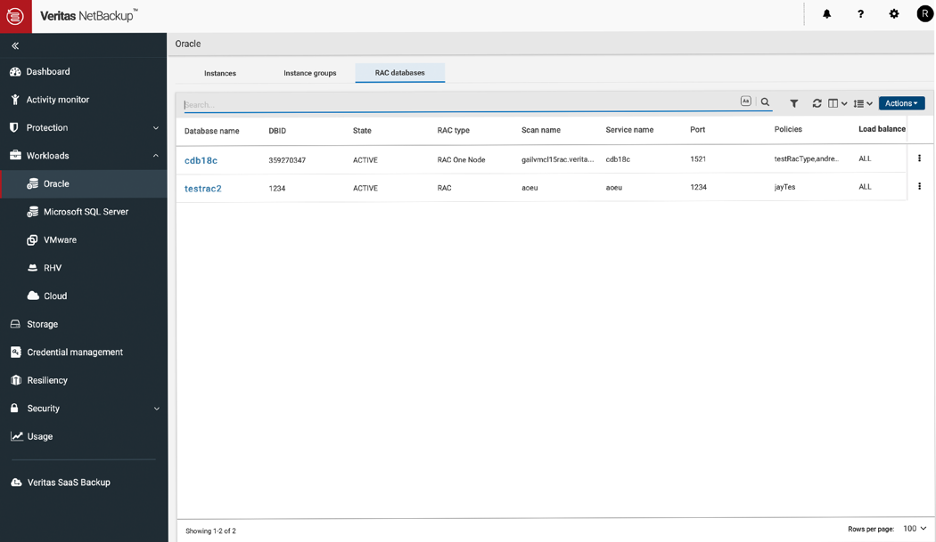 Figure 2. View all your RAC databases.