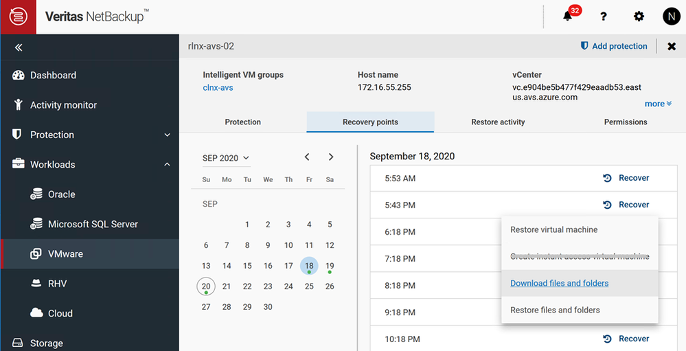 Figure 1 shows available restore options available for AVS environments using NetBackup Web UI